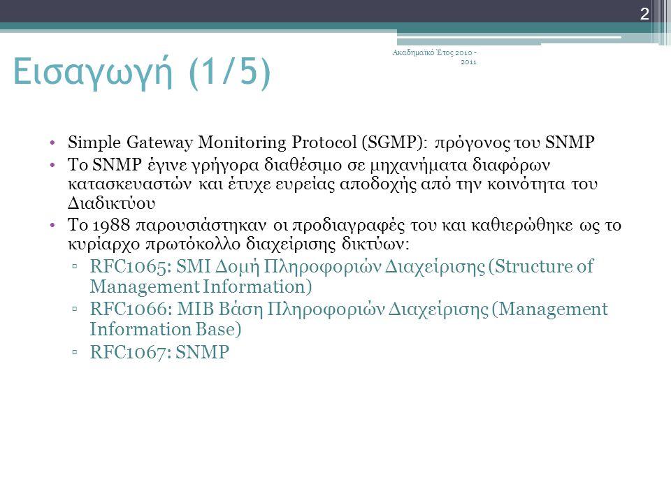 Ακαδημαϊκό Έτος 2010 - 2011 43 Με τον ορισμό μιας κοινότητας ο πράκτορας περιορίζει την πρόσβαση στη MIB του μόνο σε επιλεγμένους σταθμούς διαχείρισης Με τη χρήση πολλών κοινοτήτων είναι εφικτό ένας πράκτορας να αποδώσει διαφορετική εξουσιοδότηση πρόσβασης στη MIB του σε διαφορετικούς σταθμούς διαχείρισης Για τον έλεγχο πρόσβασης υπάρχουν 2 χαρακτηριστικά: ▫SNMP MIB view («άποψη»): κάθε κοινότητα μπορεί να έχει διαφορετική άποψη της MIB, δηλαδή να βλέπει διαφορετική ομάδα αντικειμένων στη βάση ▫SNMP Access (τρόπος πρόσβασης SNMP): ο τρόπος πρόσβασης ορίζεται για κάθε κοινότητα και μπορεί να είναι {READ-ONLY, READ-WRITE} Πολιτική πρόσβασης (1/2)