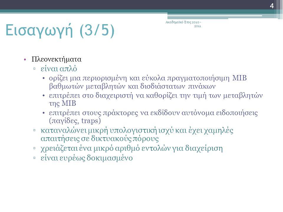 Ακαδημαϊκό Έτος 2010 - 2011 45 SNMPv1: Περιορισμοί (1/2) Το SNMPv1 μπορεί να μην είναι κατάλληλο για διαχείριση ιδιαίτερα μεγάλων δικτύων εξαιτίας των περιορισμένων επιδόσεών του σε ότι αφορά στις παγίδες: ▫οι περιοδικές αναφορές επιβαρύνουν πολύ το δίκτυο με την κυκλοφορία των μηνυμάτων διαχείρισης Το SNMPv1 δεν είναι κατάλληλα εφοδιασμένο για την ανάκτηση μεγάλου αριθμού δεδομένων όπως είναι ένας πίνακας δρομολογητή Τα SNMPv1 Traps δεν στέλνουν επιβεβαίωση λήψης με αποτέλεσμα ο πράκτορας να μην είναι σίγουρος αν ένα κρίσιμο μήνυμα έχει φθάσει στο σταθμό διαχείρισης