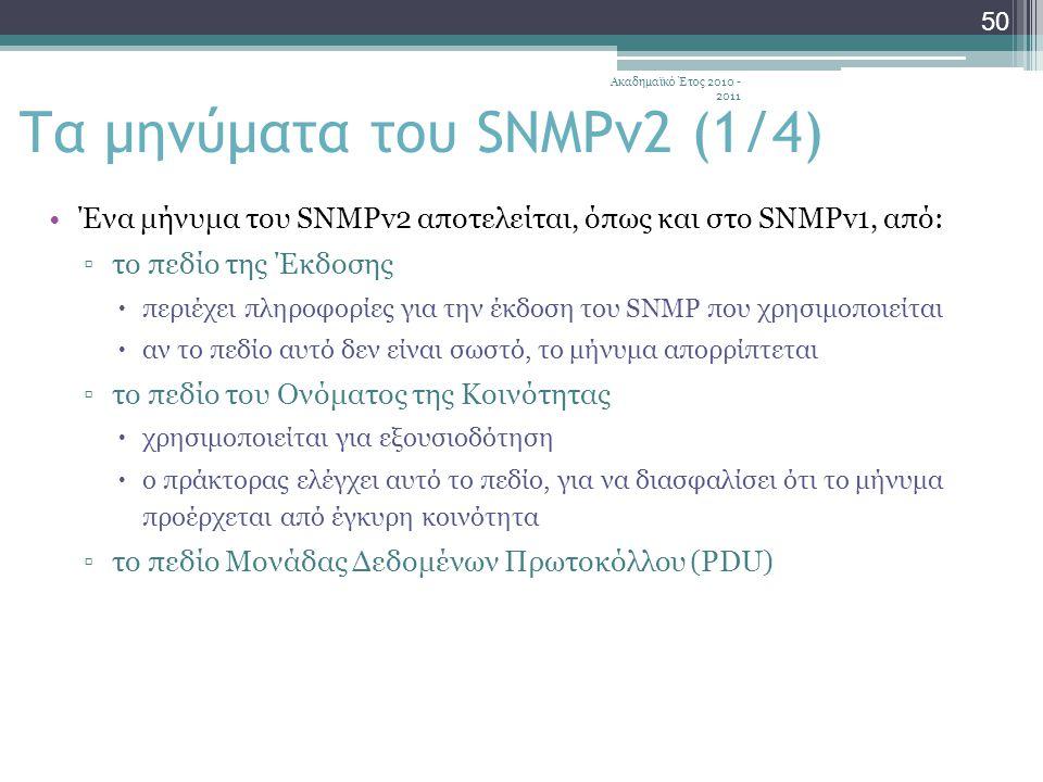 Ακαδημαϊκό Έτος 2010 - 2011 50 Ένα μήνυμα του SNMPv2 αποτελείται, όπως και στο SNMPv1, από: ▫το πεδίο της Έκδοσης  περιέχει πληροφορίες για την έκδοση του SNMP που χρησιμοποιείται  αν το πεδίο αυτό δεν είναι σωστό, το μήνυμα απορρίπτεται ▫το πεδίο του Ονόματος της Κοινότητας  χρησιμοποιείται για εξουσιοδότηση  ο πράκτορας ελέγχει αυτό το πεδίο, για να διασφαλίσει ότι το μήνυμα προέρχεται από έγκυρη κοινότητα ▫το πεδίο Μονάδας Δεδομένων Πρωτοκόλλου (PDU) Τα μηνύματα του SNMPv2 (1/4)