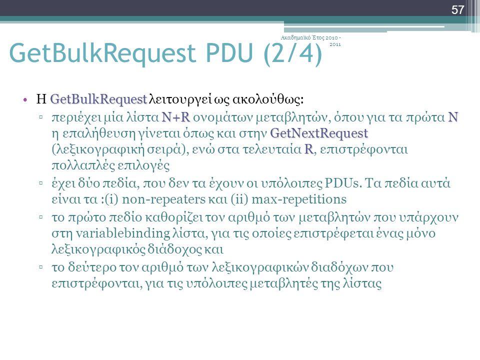 Ακαδημαϊκό Έτος 2010 - 2011 57 GetBulkRequestΗ GetBulkRequest λειτουργεί ως ακολούθως: N+RΝ GetNextRequest R ▫περιέχει μία λίστα N+R ονομάτων μεταβλητών, όπου για τα πρώτα Ν η επαλήθευση γίνεται όπως και στην GetNextRequest (λεξικογραφική σειρά), ενώ στα τελευταία R, επιστρέφονται πολλαπλές επιλογές ▫έχει δύο πεδία, που δεν τα έχουν οι υπόλοιπες PDUs.