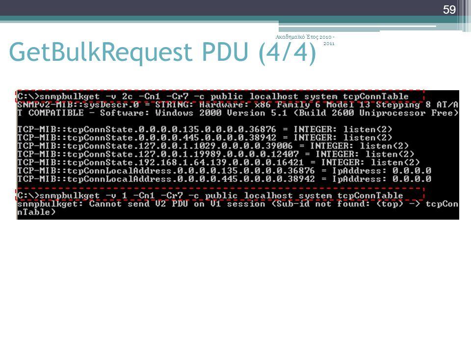 Ακαδημαϊκό Έτος 2010 - 2011 59 GetBulkRequest PDU (4/4)