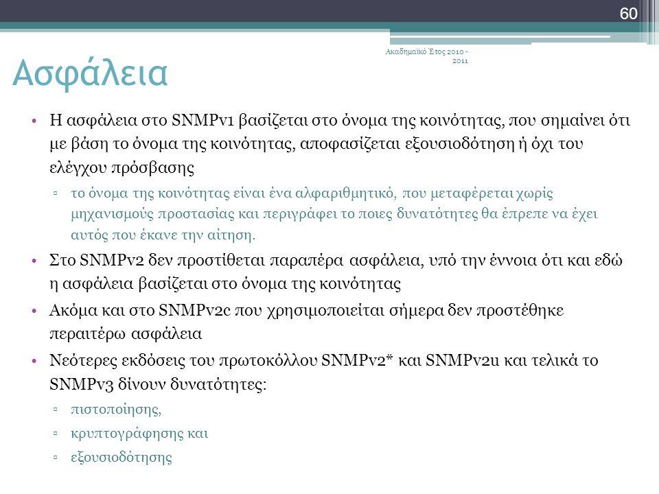 Ακαδημαϊκό Έτος 2010 - 2011 60 Η ασφάλεια στο SNMPv1 βασίζεται στο όνομα της κοινότητας, που σημαίνει ότι με βάση το όνομα της κοινότητας, αποφασίζεται εξουσιοδότηση ή όχι του ελέγχου πρόσβασης ▫το όνομα της κοινότητας είναι ένα αλφαριθμητικό, που μεταφέρεται χωρίς μηχανισμούς προστασίας και περιγράφει το ποιες δυνατότητες θα έπρεπε να έχει αυτός που έκανε την αίτηση.