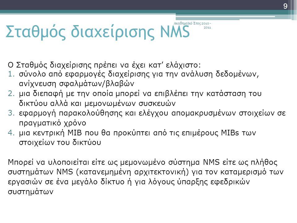 Ακαδημαϊκό Έτος 2010 - 2011 9 Σταθμός διαχείρισης NMS Ο Σταθμός διαχείρισης πρέπει να έχει κατ' ελάχιστο: 1.σύνολο από εφαρμογές διαχείρισης για την ανάλυση δεδομένων, ανίχνευση σφαλμάτων/βλαβών 2.μια διεπαφή με την οποία μπορεί να επιβλέπει την κατάσταση του δικτύου αλλά και μεμονωμένων συσκευών 3.εφαρμογή παρακολούθησης και ελέγχου απομακρυσμένων στοιχείων σε πραγματικό χρόνο 4.μια κεντρική MIB που θα προκύπτει από τις επιμέρους MIBs των στοιχείων του δικτύου Μπορεί να υλοποιείται είτε ως μεμονωμένο σύστημα NMS είτε ως πλήθος συστημάτων NMS (κατανεμημένη αρχιτεκτονική) για τον καταμερισμό των εργασιών σε ένα μεγάλο δίκτυο ή για λόγους ύπαρξης εφεδρικών συστημάτων