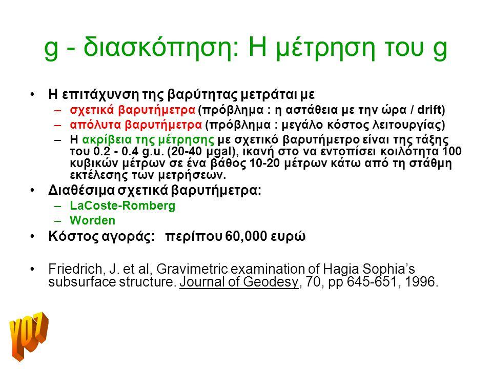 g - διασκόπηση: Η μέτρηση του g Η επιτάχυνση της βαρύτητας μετράται με –σχετικά βαρυτήμετρα (πρόβλημα : η αστάθεια με την ώρα / drift) –απόλυτα βαρυτήμετρα (πρόβλημα : μεγάλο κόστος λειτουργίας) –Η ακρίβεια της μέτρησης με σχετικό βαρυτήμετρο είναι της τάξης του 0.2 - 0.4 g.u.