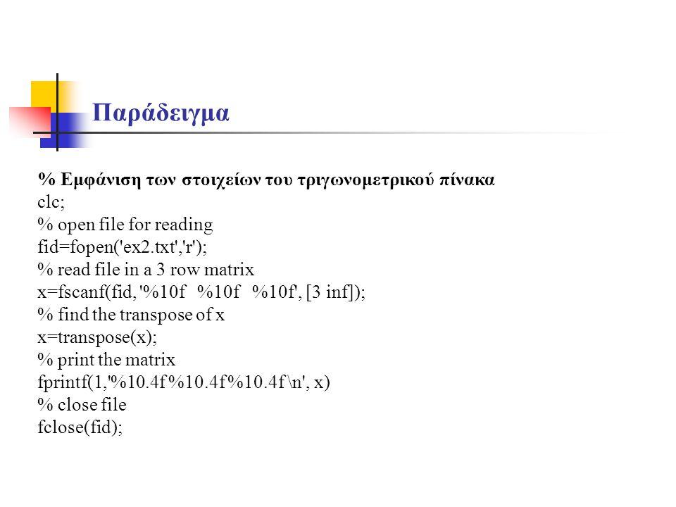 Παράδειγμα % Εμφάνιση των στοιχείων του τριγωνομετρικού πίνακα clc; % open file for reading fid=fopen('ex2.txt','r'); % read file in a 3 row matrix x=
