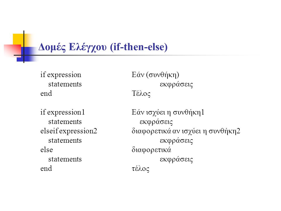 Δομές Ελέγχου (if-then-else) if expression statements end if expression1 statements elseif expression2 statements else statements end Εάν (συνθήκη) εκ