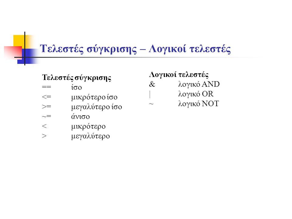 Τελεστές σύγκρισης – Λογικοί τελεστές Τελεστές σύγκρισης ==ίσο <=μικρότερο ίσο >=μεγαλύτερο ίσο ~=άνισο <μικρότερο >μεγαλύτερο Λογικοί τελεστές &λογικ