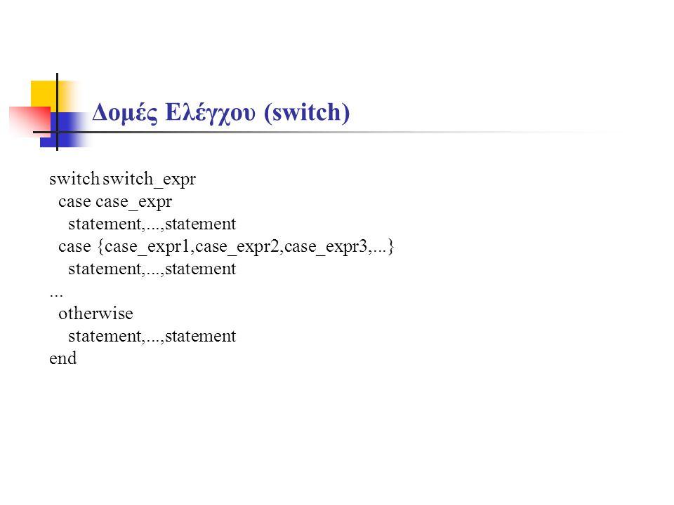 Δομές Ελέγχου (switch) switch switch_expr case case_expr statement,...,statement case {case_expr1,case_expr2,case_expr3,...} statement,...,statement..