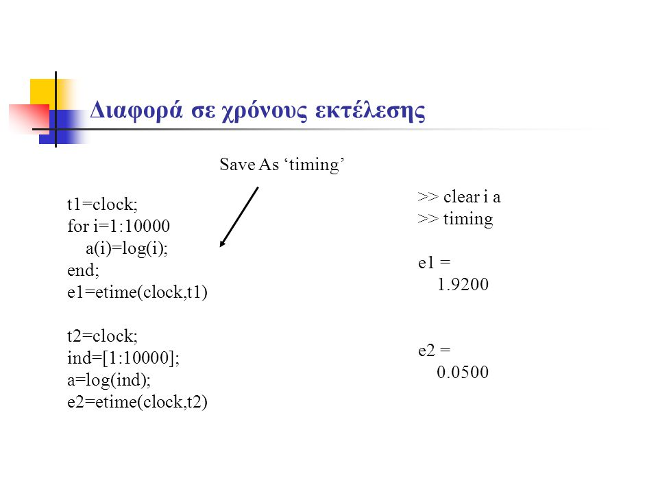Διαφορά σε χρόνους εκτέλεσης t1=clock; for i=1:10000 a(i)=log(i); end; e1=etime(clock,t1) t2=clock; ind=[1:10000]; a=log(ind); e2=etime(clock,t2) >> c