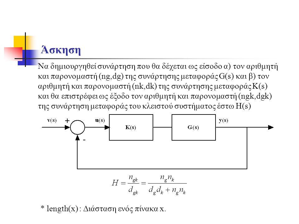 Άσκηση Να δημιουργηθεί συνάρτηση που θα δέχεται ως είσοδο α) τον αριθμητή και παρονομαστή (ng,dg) της συνάρτησης μεταφοράς G(s) και β) τον αριθμητή κα
