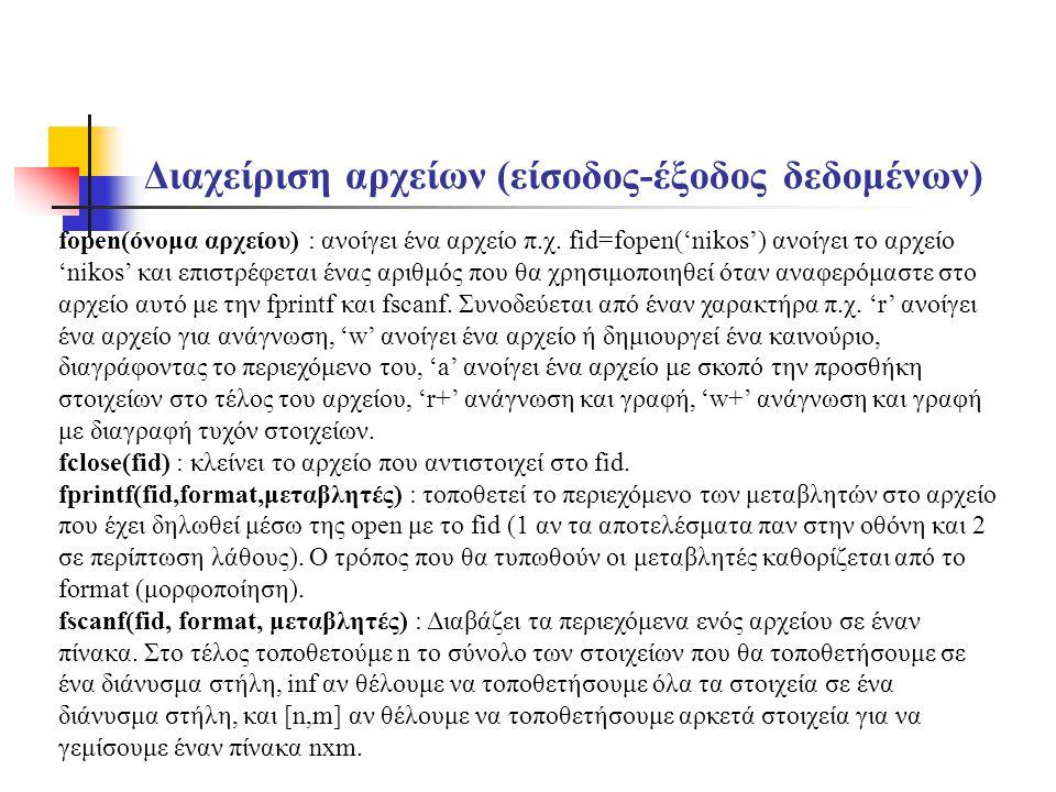 Διαχείριση αρχείων (είσοδος-έξοδος δεδομένων) fopen(όνομα αρχείου) : ανοίγει ένα αρχείο π.χ. fid=fopen('nikos') ανοίγει το αρχείο 'nikos' και επιστρέφ