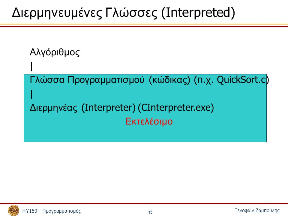 Ξενοφών Ζαμ π ούλης ΗΥ 150 – Προγραμματισμός 16 Ακολουθία « τρεξίματος »: Φόρτωμα του κώδικα στη μνήμη Δέσμευση μνήμης για ( καθολικές ) μεταβλητές Εκτέλεση της συνάρτησης main .