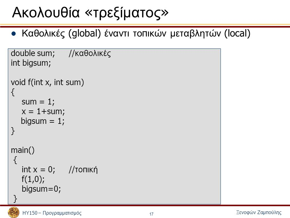 Ξενοφών Ζαμ π ούλης ΗΥ 150 – Προγραμματισμός 17 Ακολουθία « τρεξίματος » Καθολικές (global) έναντι το π ικών μεταβλητών (local) double sum;// καθολικές int bigsum; void f(int x, int sum) { sum = 1; x = 1+sum; bigsum = 1; } main() { int x = 0; // το π ική f(1,0); bigsum=0; }
