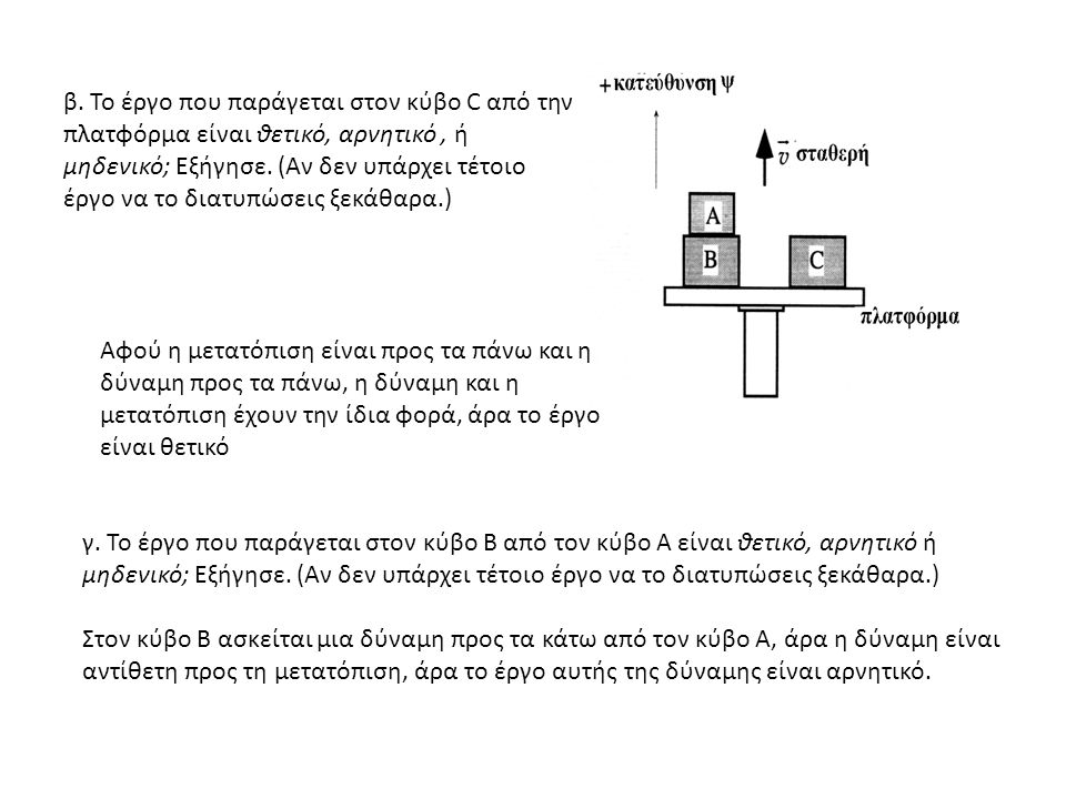 β. Το έργο που παράγεται στον κύβο C από την πλατφόρμα είναι θετικό, αρνητικό, ή μηδενικό; Εξήγησε.