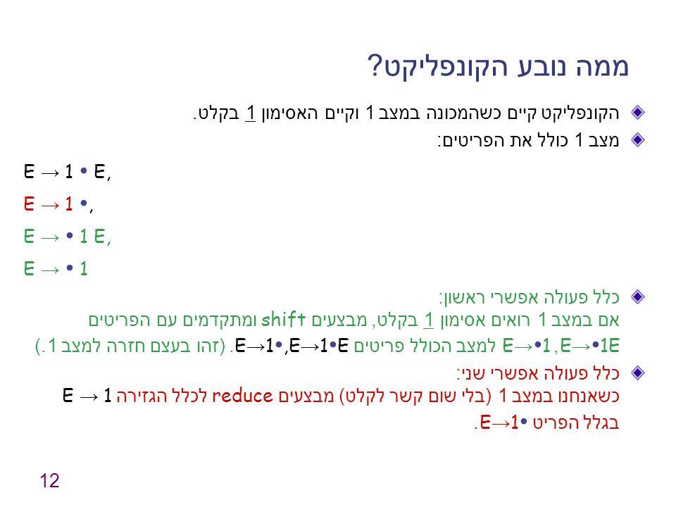 12 ממה נובע הקונפליקט ? הקונפליקט קיים כשהמכונה במצב 1 וקיים האסימון 1 בקלט. מצב 1 כולל את הפריטים : E → 1 ∙ E, E → 1 ∙, E → ∙ 1 E, E → ∙ 1 כלל פעולה
