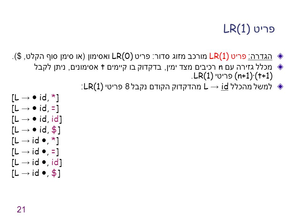 21 פריט LR(1) הגדרה : פריט LR(1) מורכב מזוג סדור : פריט LR(0) ואסימון ( או סימן סוף הקלט, $). מכלל גזירה עם n רכיבים מצד ימין, בדקדוק בו קיימים t אסימ