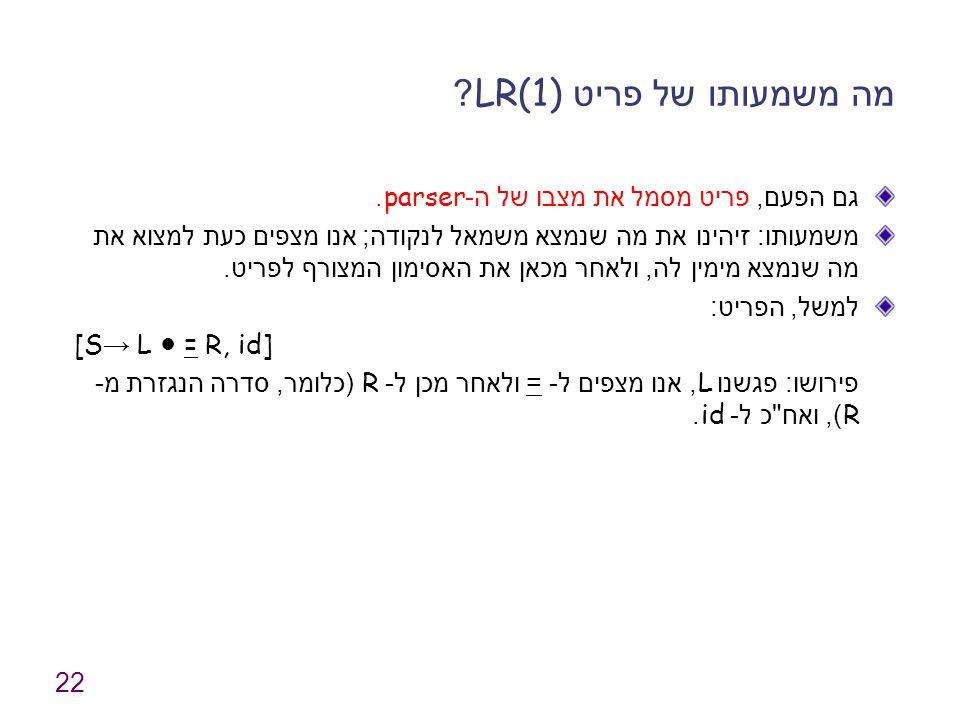 22 מה משמעותו של פריט LR(1).גם הפעם, פריט מסמל את מצבו של ה -parser.