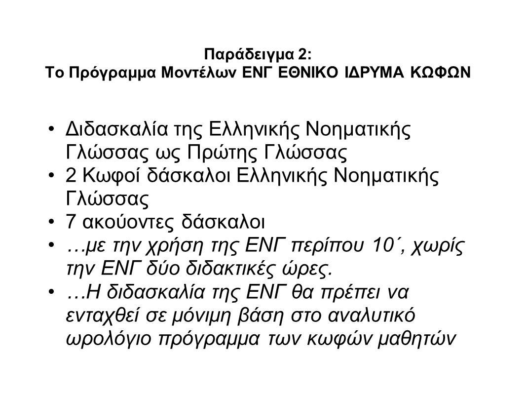 Παράδειγμα 2: Το Πρόγραμμα Μοντέλων ΕΝΓ ΕΘΝΙΚΟ ΙΔΡΥΜΑ ΚΩΦΩΝ Διδασκαλία της Ελληνικής Νοηματικής Γλώσσας ως Πρώτης Γλώσσας 2 Κωφοί δάσκαλοι Ελληνικής Νοηματικής Γλώσσας 7 ακούοντες δάσκαλοι …με την χρήση της ΕΝΓ περίπου 10΄, χωρίς την ΕΝΓ δύο διδακτικές ώρες.