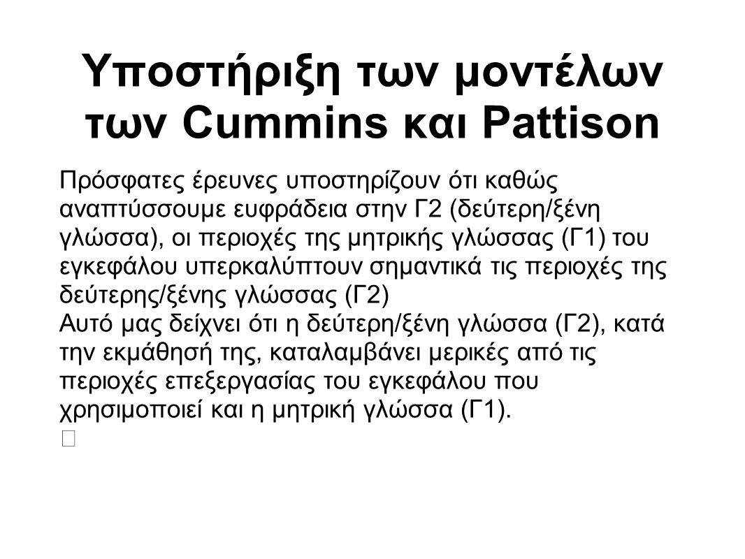 Υποστήριξη των μοντέλων των Cummins και Pattison Πρόσφατες έρευνες υποστηρίζουν ότι καθώς αναπτύσσουμε ευφράδεια στην Γ2 (δεύτερη/ξένη γλώσσα), οι περ