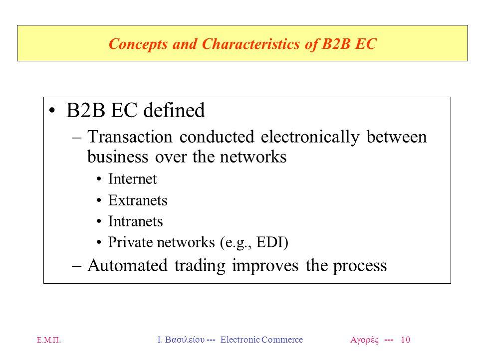 Ε.Μ.Π.Ι. Βασιλείου --- Electronic Commerce Αγορές --- 10 Concepts and Characteristics of B2B EC B2B EC defined –Transaction conducted electronically b