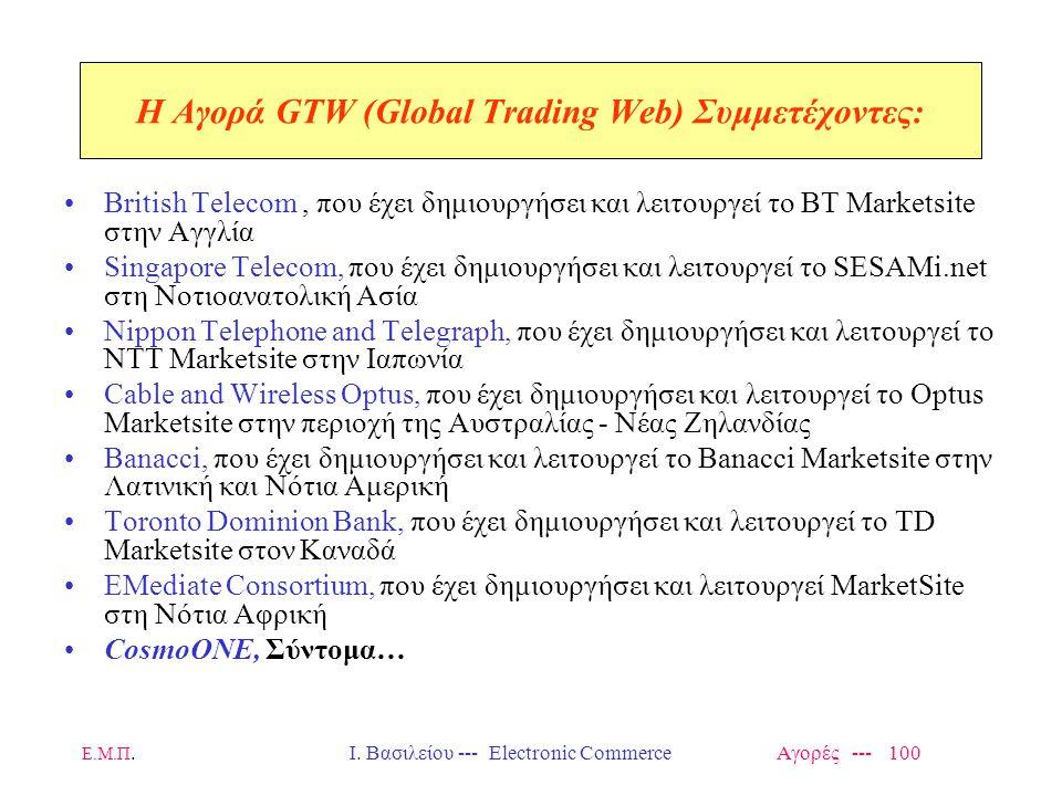 Ε.Μ.Π.Ι. Βασιλείου --- Electronic Commerce Αγορές --- 100 H Αγορά GTW (Global Trading Web) Συμμετέχοντες: British Telecom, που έχει δημιουργήσει και λ
