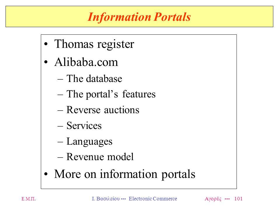 Ε.Μ.Π.Ι. Βασιλείου --- Electronic Commerce Αγορές --- 101 Information Portals Thomas register Alibaba.com –The database –The portal's features –Revers