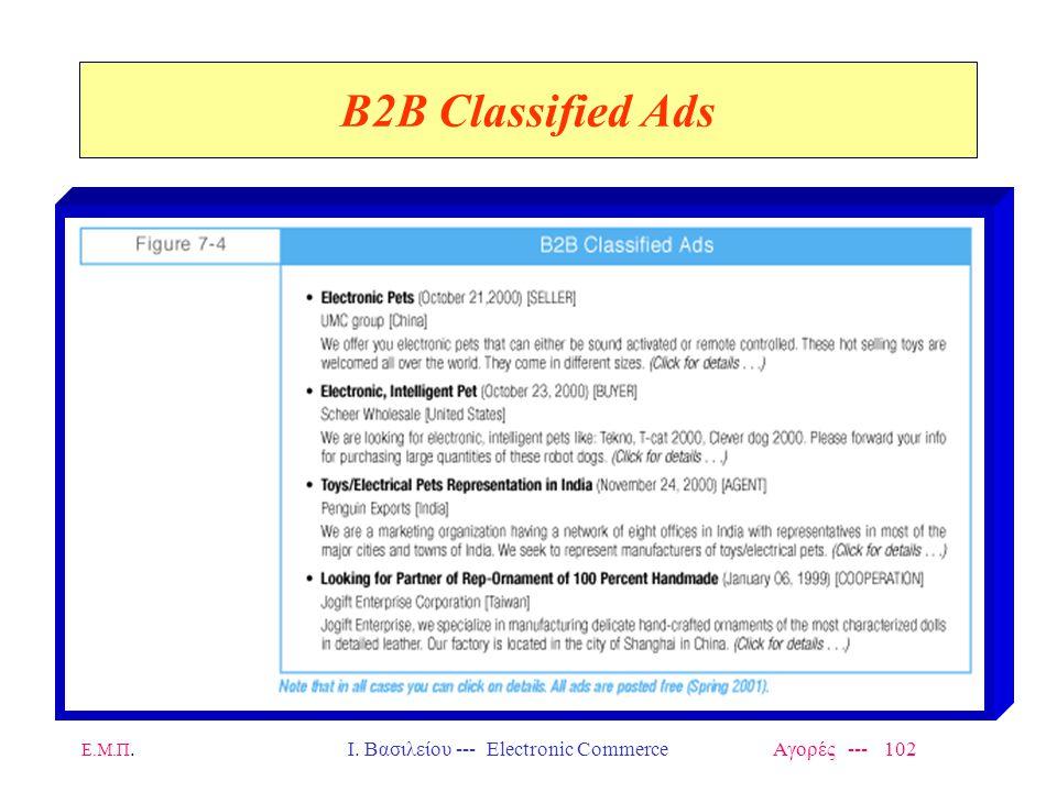 Ε.Μ.Π.Ι. Βασιλείου --- Electronic Commerce Αγορές --- 102 B2B Classified Ads
