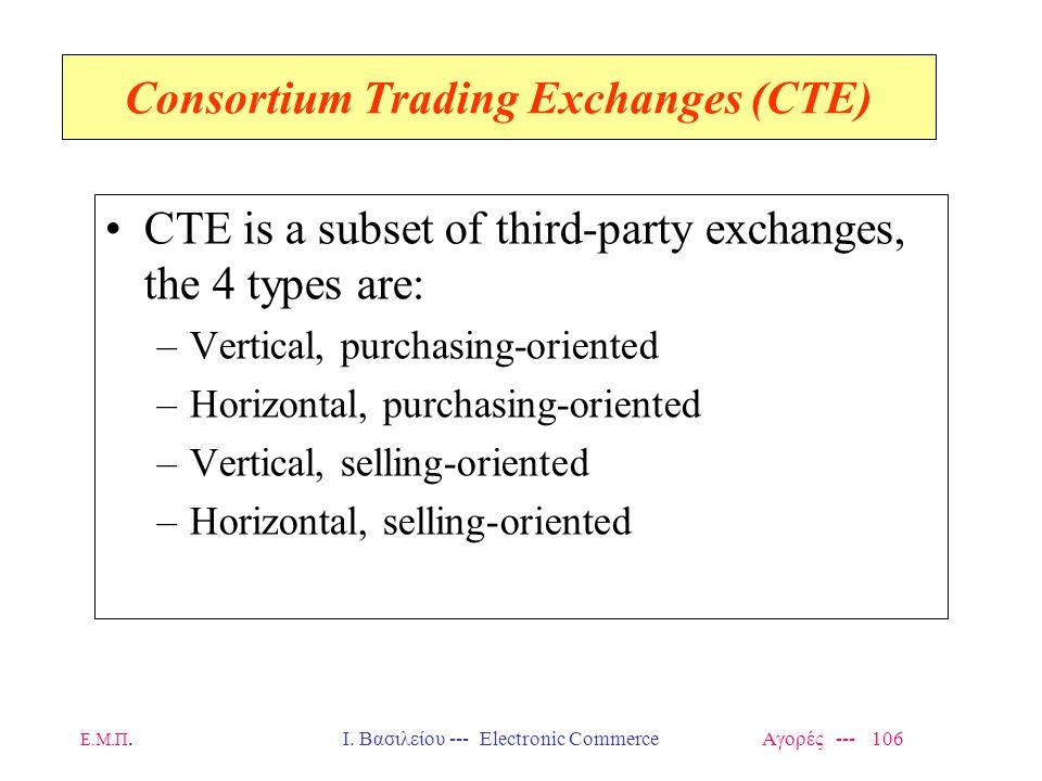 Ε.Μ.Π.Ι. Βασιλείου --- Electronic Commerce Αγορές --- 106 Consortium Trading Exchanges (CTE) CTE is a subset of third-party exchanges, the 4 types are