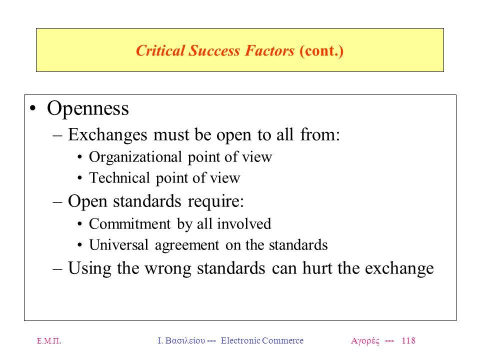 Ε.Μ.Π.Ι. Βασιλείου --- Electronic Commerce Αγορές --- 118 Critical Success Factors (cont.) Openness –Exchanges must be open to all from: Organizationa