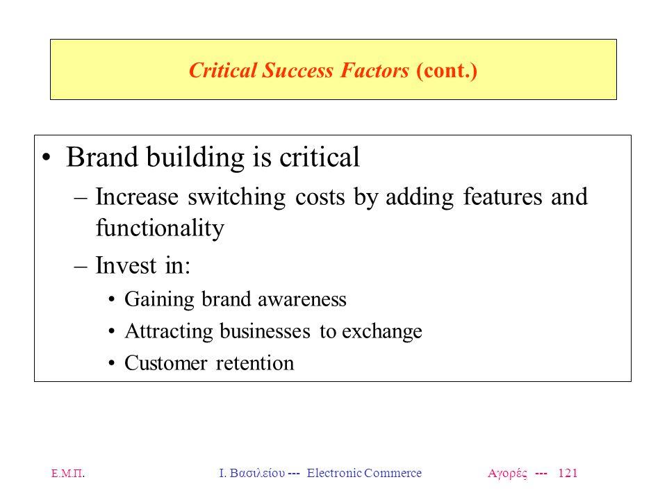 Ε.Μ.Π.Ι. Βασιλείου --- Electronic Commerce Αγορές --- 121 Critical Success Factors (cont.) Brand building is critical –Increase switching costs by add
