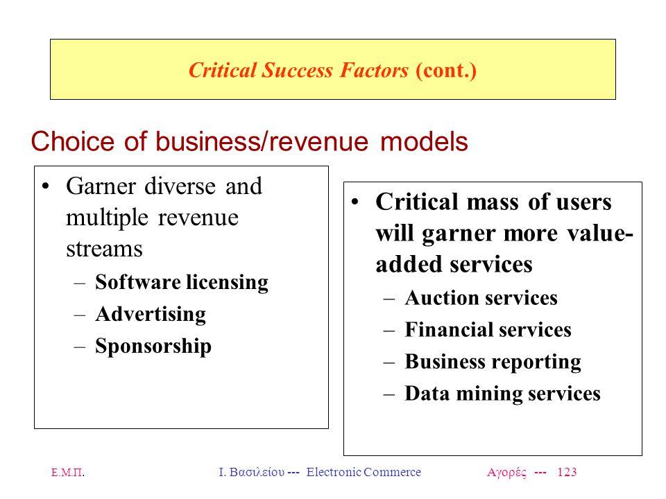 Ε.Μ.Π.Ι. Βασιλείου --- Electronic Commerce Αγορές --- 123 Critical Success Factors (cont.) Garner diverse and multiple revenue streams –Software licen