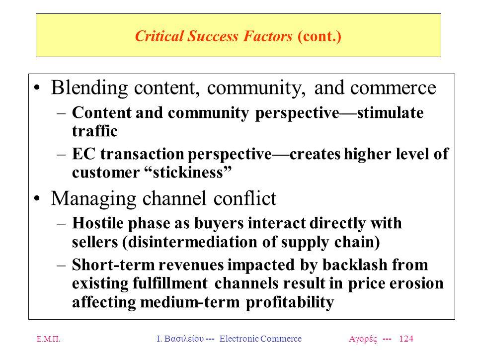 Ε.Μ.Π.Ι. Βασιλείου --- Electronic Commerce Αγορές --- 124 Critical Success Factors (cont.) Blending content, community, and commerce –Content and comm