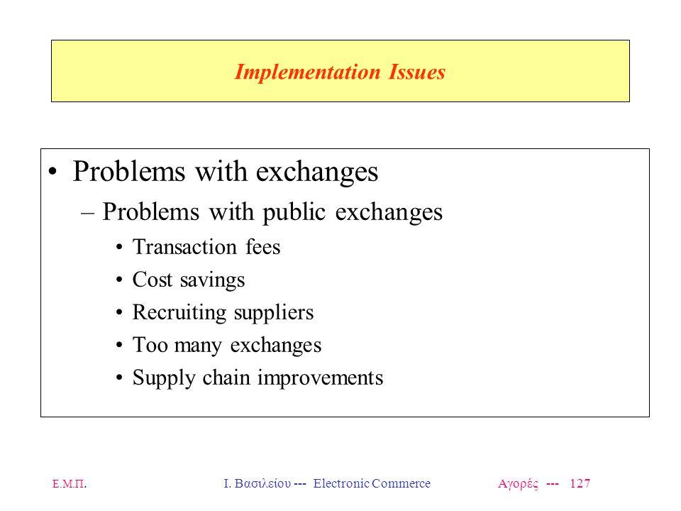 Ε.Μ.Π.Ι. Βασιλείου --- Electronic Commerce Αγορές --- 127 Implementation Issues Problems with exchanges –Problems with public exchanges Transaction fe