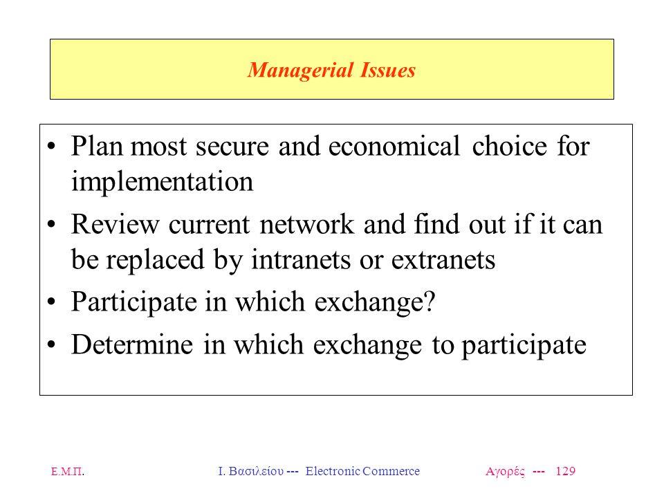 Ε.Μ.Π.Ι. Βασιλείου --- Electronic Commerce Αγορές --- 129 Managerial Issues Plan most secure and economical choice for implementation Review current n