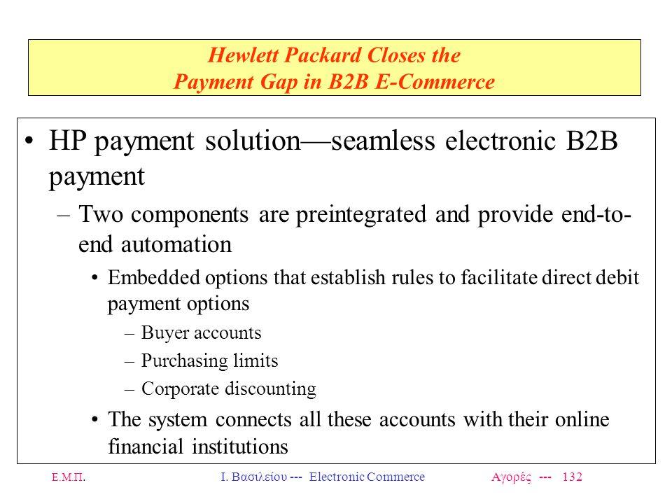 Ε.Μ.Π.Ι. Βασιλείου --- Electronic Commerce Αγορές --- 132 Hewlett Packard Closes the Payment Gap in B2B E-Commerce HP payment solution—seamless electr