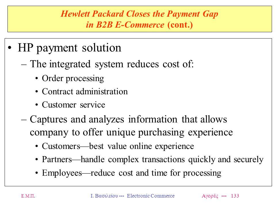 Ε.Μ.Π.Ι. Βασιλείου --- Electronic Commerce Αγορές --- 133 Hewlett Packard Closes the Payment Gap in B2B E-Commerce (cont.) HP payment solution –The in