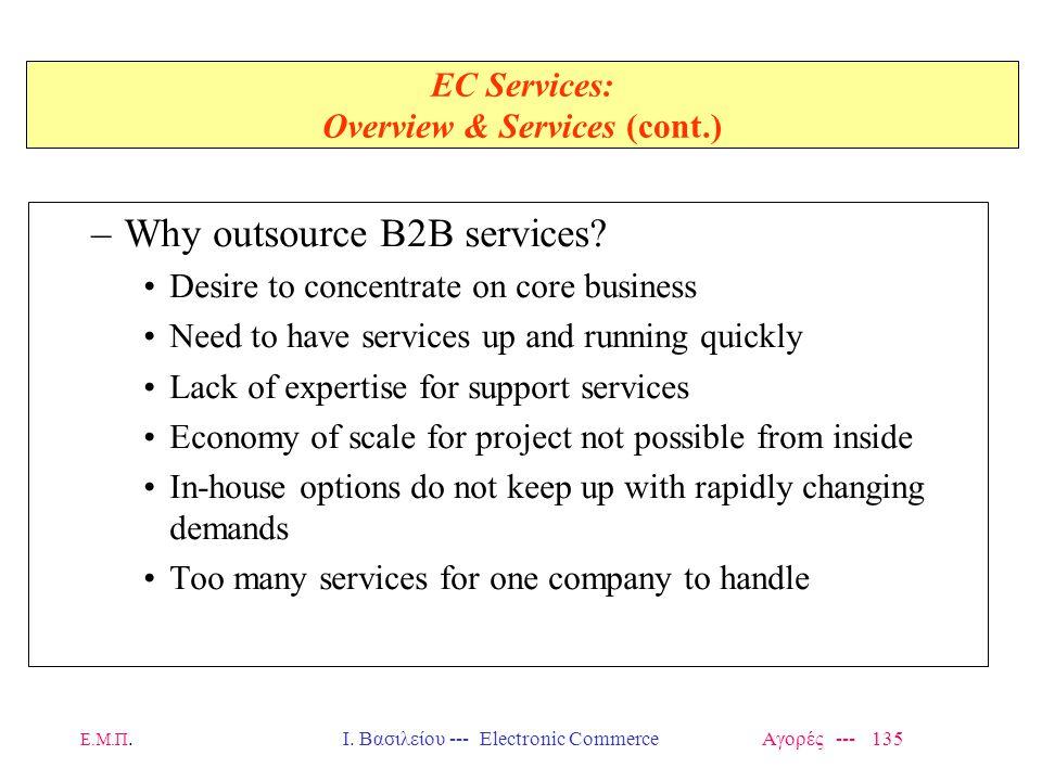 Ε.Μ.Π.Ι. Βασιλείου --- Electronic Commerce Αγορές --- 135 EC Services: Overview & Services (cont.) –Why outsource B2B services? Desire to concentrate