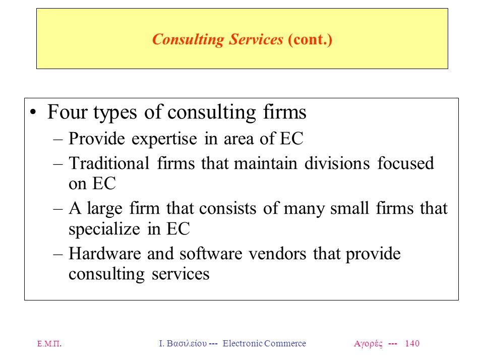 Ε.Μ.Π.Ι. Βασιλείου --- Electronic Commerce Αγορές --- 140 Consulting Services (cont.) Four types of consulting firms –Provide expertise in area of EC