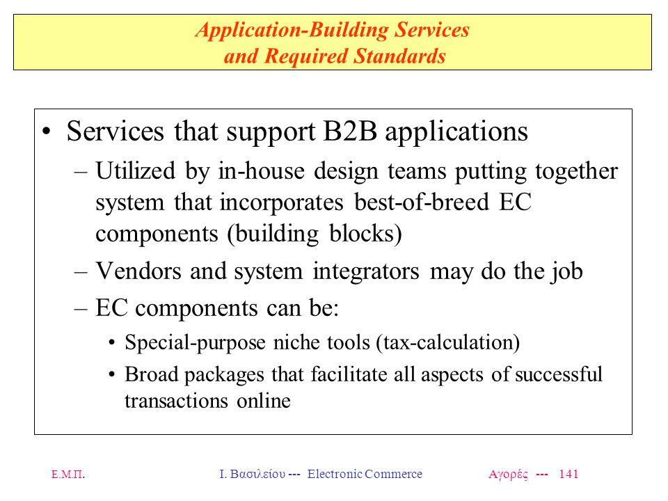 Ε.Μ.Π.Ι. Βασιλείου --- Electronic Commerce Αγορές --- 141 Application-Building Services and Required Standards Services that support B2B applications