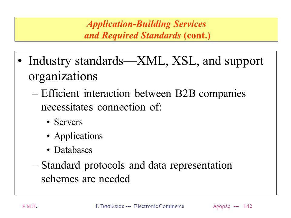 Ε.Μ.Π.Ι. Βασιλείου --- Electronic Commerce Αγορές --- 142 Application-Building Services and Required Standards (cont.) Industry standards—XML, XSL, an