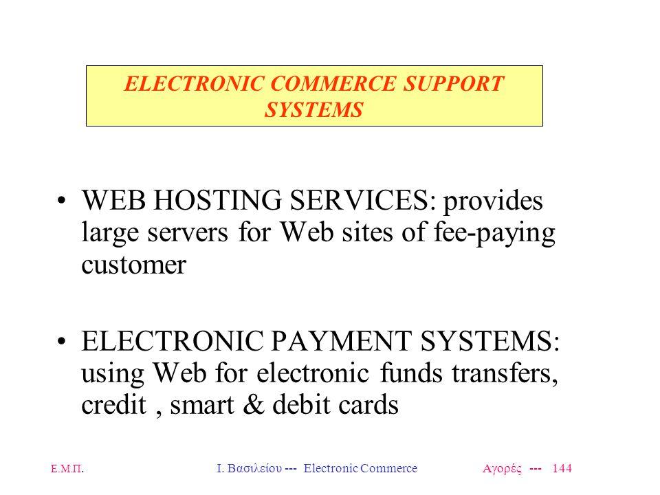 Ε.Μ.Π.Ι. Βασιλείου --- Electronic Commerce Αγορές --- 144 WEB HOSTING SERVICES: provides large servers for Web sites of fee-paying customer ELECTRONIC