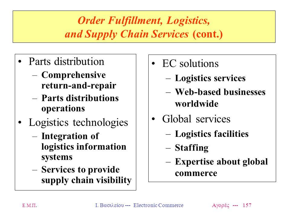 Ε.Μ.Π.Ι. Βασιλείου --- Electronic Commerce Αγορές --- 157 Order Fulfillment, Logistics, and Supply Chain Services (cont.) Parts distribution –Comprehe