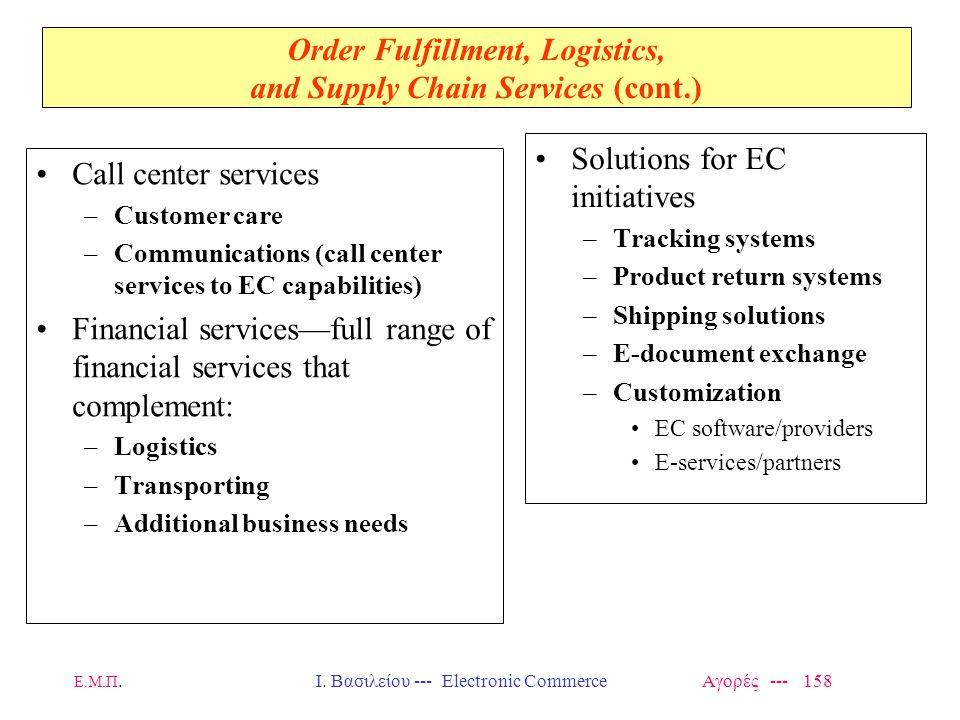 Ε.Μ.Π.Ι. Βασιλείου --- Electronic Commerce Αγορές --- 158 Order Fulfillment, Logistics, and Supply Chain Services (cont.) Call center services –Custom