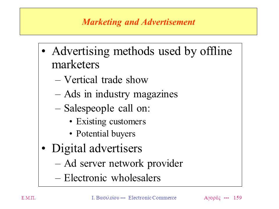 Ε.Μ.Π.Ι. Βασιλείου --- Electronic Commerce Αγορές --- 159 Marketing and Advertisement Advertising methods used by offline marketers –Vertical trade sh