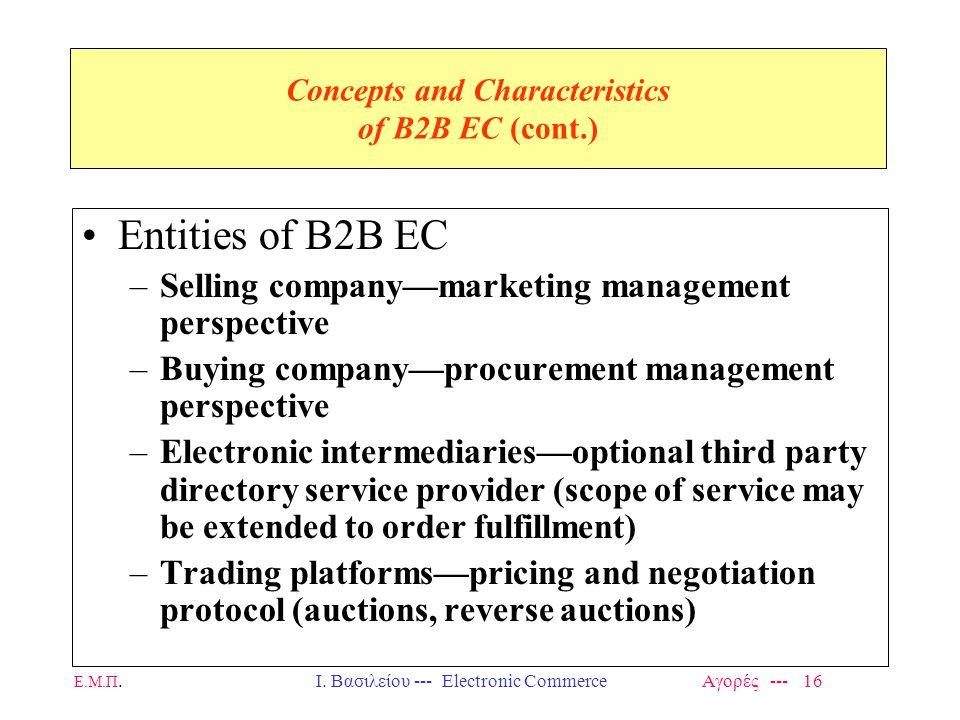 Ε.Μ.Π.Ι. Βασιλείου --- Electronic Commerce Αγορές --- 16 Concepts and Characteristics of B2B EC (cont.) Entities of B2B EC –Selling company—marketing