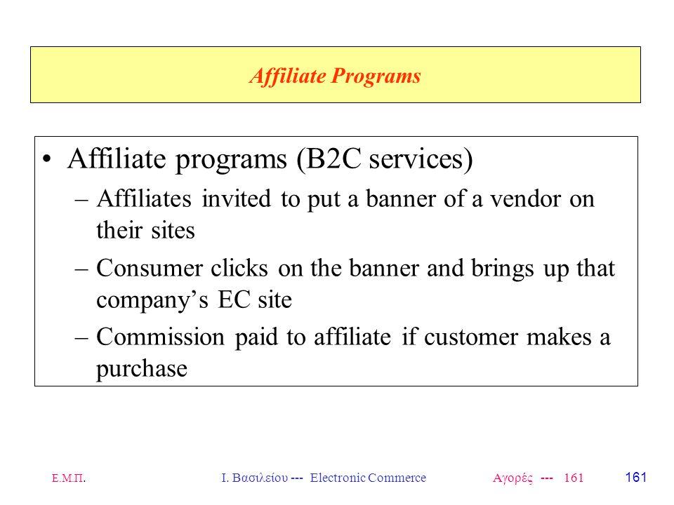 Ε.Μ.Π.Ι. Βασιλείου --- Electronic Commerce Αγορές --- 161 Affiliate Programs Affiliate programs (B2C services) –Affiliates invited to put a banner of