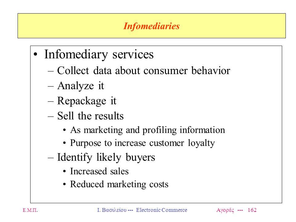 Ε.Μ.Π.Ι. Βασιλείου --- Electronic Commerce Αγορές --- 162 Infomediaries Infomediary services –Collect data about consumer behavior –Analyze it –Repack