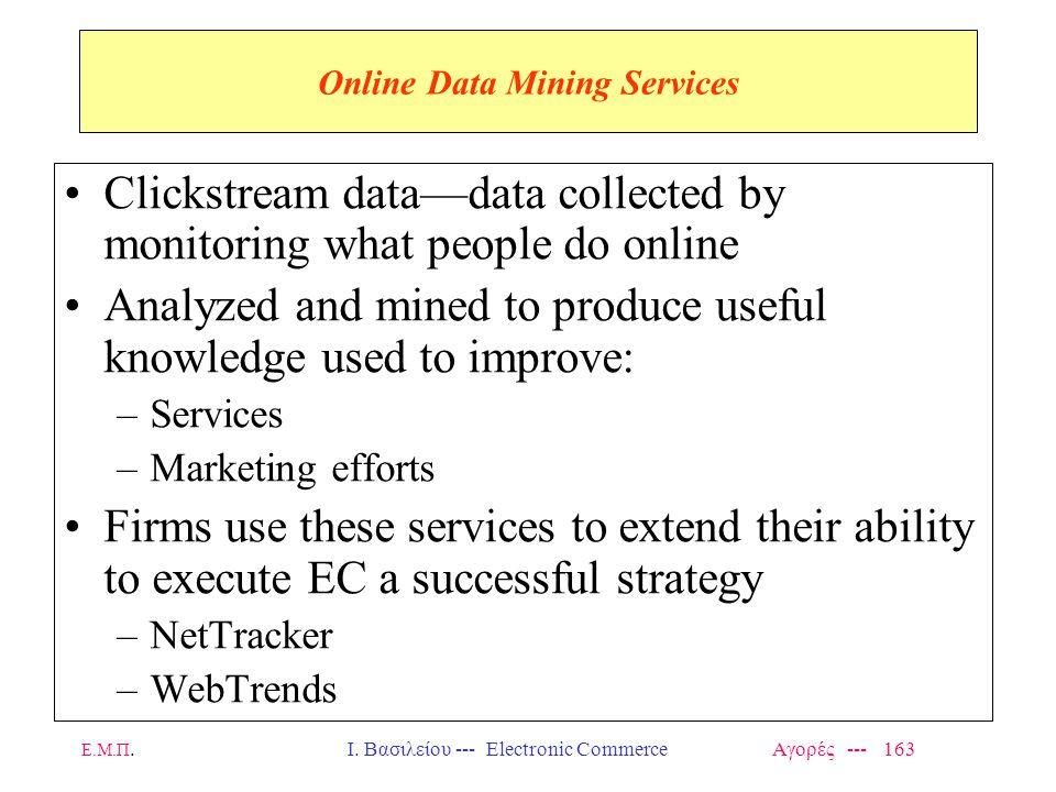 Ε.Μ.Π.Ι. Βασιλείου --- Electronic Commerce Αγορές --- 163 Online Data Mining Services Clickstream data—data collected by monitoring what people do onl