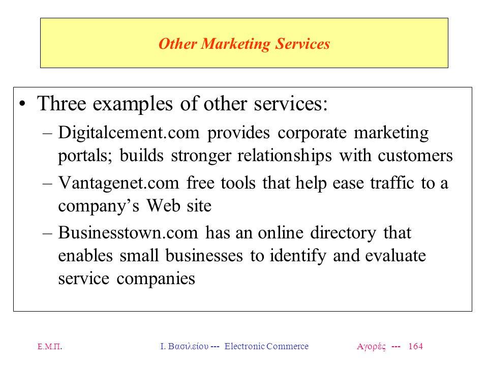 Ε.Μ.Π.Ι. Βασιλείου --- Electronic Commerce Αγορές --- 164 Other Marketing Services Three examples of other services: –Digitalcement.com provides corpo
