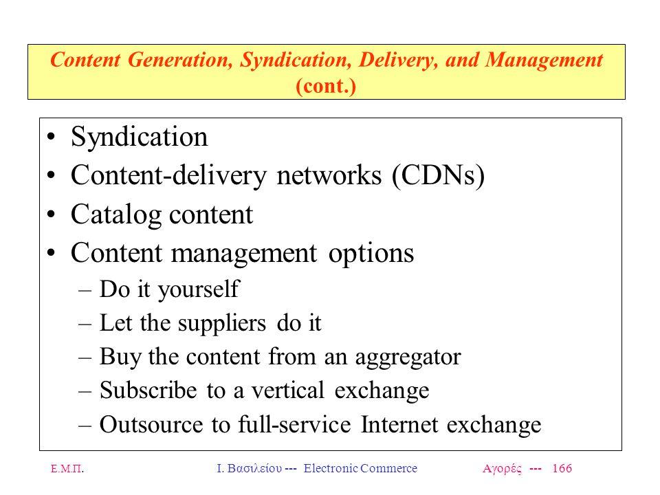 Ε.Μ.Π.Ι. Βασιλείου --- Electronic Commerce Αγορές --- 166 Content Generation, Syndication, Delivery, and Management (cont.) Syndication Content-delive